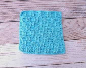 Cotton Dishcloth - 100% cotton dishcloth - textured turquoise cotton washcloth - blue dishrag - basket weave washrag - housewarming gift