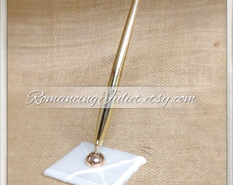 Custom Colors Pintuck Taffeta Wedding Pen...shown in gold pen/ivory base