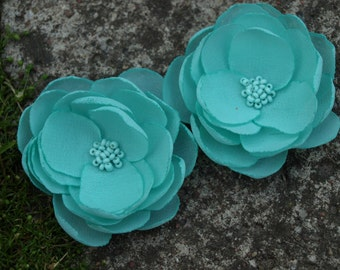 Mint Green Colored Flower Hair Pins - Brooches - Shoe Clips Set of 2
