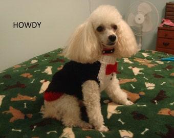 Dog Sweater, Hand Knit Pet Sweater, Size XSMALL, Dandy Tux