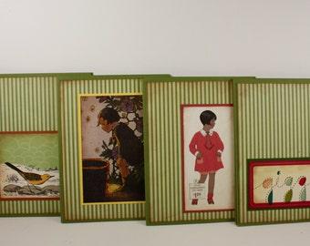 U FINISH - Set of 12 Handmade Cards Unfinished - Coordinating Envelope - Olive Green