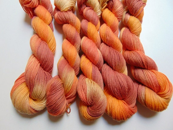Changing Leaves- 100 Organic Cotton Hand Dyed Variegated yarn
