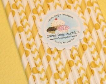 NEW - Yellow Straw Collection  (Qty 24)  DIY Flag Toppers - Yellow Striped Straws, Yellow Polka Dot Straws, Yellow Chevron Straws, Straws
