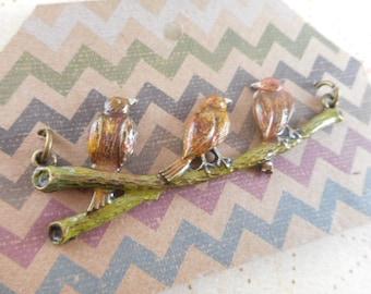 Golden Eagle Bird Pendant Hand Painted Bird Trio Antique Brass Pendant - 62630