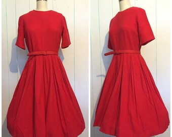 50s Red Pleated Toni Todd Dress size 12