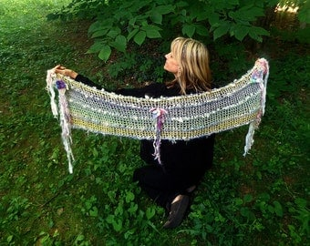 hand knit art yarn wool silk cotton enchanted forest summer faerie scarf wrap - enchanted memory