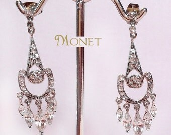 Vintage Wedding Earrings Rhinestones Pearl Drops Dangle Pierced Earrings Signed Monet  Bridal Prom