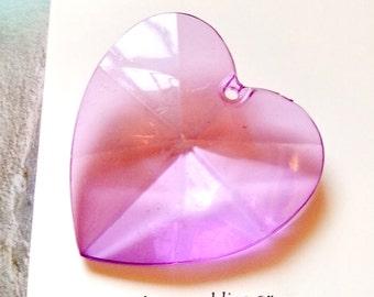 3 pcs Large acrylic faceted heart charm / pendant -(CM-024-C)