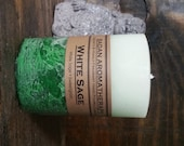 "WHITE SAGE Candle, Scented Pillar, Green 3""x4.5"" Medium"