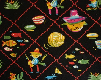 """KNITTING BAG APRON - Made to Order - Utra Rare """"senor kitty"""" Fabric - Please allow 3 weeks for delivery"""