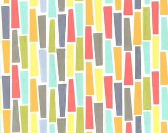 Pegs a Plenty Fabric - Mid Century Fabric - Michael Miller Fabric - Coral Green yellow Grey - Michael Miller Discontinued - 1 yd 26 in