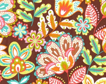 Esme Chocolate Fabric - Brown Floral Fabric - Michael Miller Fabric - Brown  Pink Aqua - Michael Miller Discontinued - Floral Brown Fabric