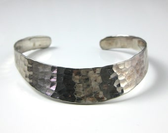 Cuff Bracelet, Sterling Silver, Hammered Silver Texture, Fancy Silver Bracelet, Simple Design, Womens Fashion
