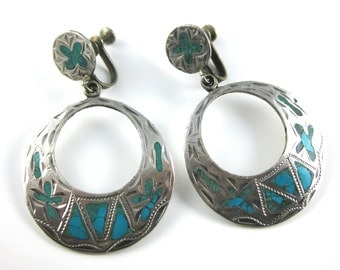 Vintage Sterling Silver Turquoise Screw Back Hoop Earrings