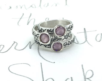 SALE purple sapphire engagement ring . alternative engagement ring . recycled silver tudor rose engagement ring . ready to ship size 4.5 7 8