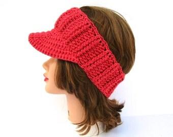 Pink Sun Visor - Women's Visor Head Wrap - Brimmed Ear Warmer - Brim Headband - Crochet Accessories