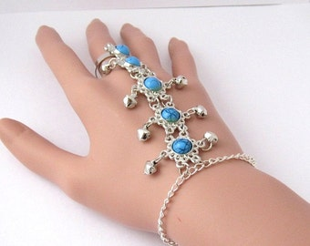 Belly Dance Style Slave Bracelet with Bell Charms