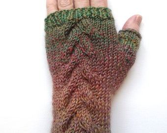 Fingerless Gloves for Women, Teen Girls, Handknit Gloves, Hand Warmers, one of a kind, cable pattern, wool gloves, green and rust colors