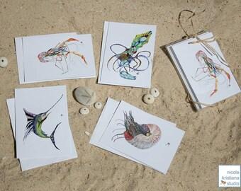 Beach Note Cards - Nautilus / Shrimp / Squid / Marlin