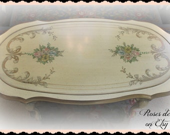 SALE!!!  vintage French Provincial coffee table hand painted ROSES & SCROLLS artist signed  elegant   glam