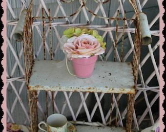 vintage shabby metal shelf  rusty crusty and loaded with shabby charm  Prairie   French Farmhouse