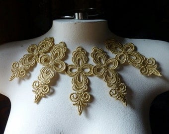 5 Gold Lace Appliques in Metallic Gold Venice Lace for Bridal, Headbands, Jewelry, Costume Design CA 753