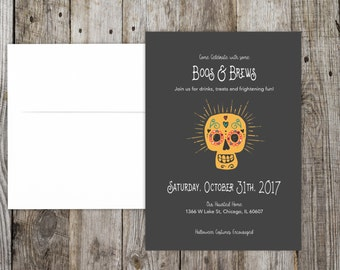 Halloween Party Invitation - DIY Printable File - Boos and Brews Mexico Skull Invite