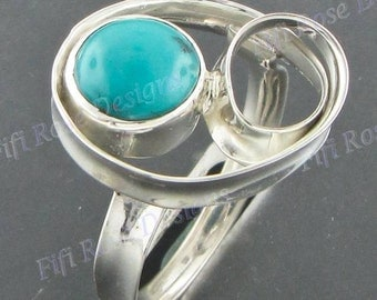 artisan 8mm turquoise 925 sterling silver sz 6.5 ring