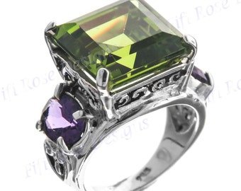 Handcrafted 7ct Peridot And Amethyst Gemstone 925 Sterling Silver Us 7 Ring