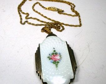 EVANs Case Co Locket, Signed Art Deco Double Guilloche Enamel Locket on Chain, Gorgeous White Enameling w Flowers,  the Gold Has Darkened,