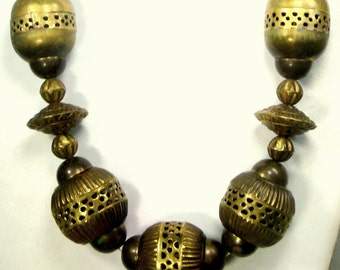 Large Boho WARRIOR Woman Tribal Brass Bead Necklace 1960s India, Archetypal Vintage Statement Necklace