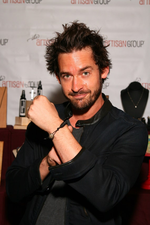 Celebrity Jewelry Black Bead Stone Bracelet Actor Will Kemp from GG2D Reign Leather Beaded  Bracelet Black Lava Stone For Him or Her Edgy