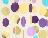 Mermaid Party Paper Garland - Gold, Teal, purple and lavendar - 10 foot paper garland