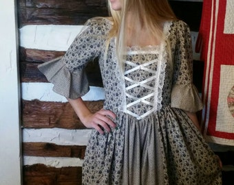 Girl Colonial Period Dress Costume Size sizes avail 3 -14 made to order blue calico fabrics