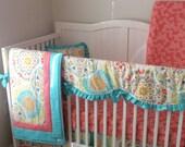 Crib Bedding Set Coral Aqua Designer Medallion READY TO SHIP