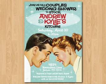 PRINTABLE RETRO Couples Wedding Shower Stock the Kitchen Invitation plus Recipe Cards