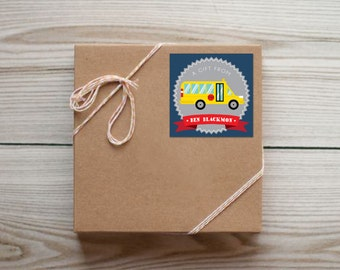 Set of 25 Personalized School Bus Enclosure Cards Contact Cards Calling Cards or Gift Tags