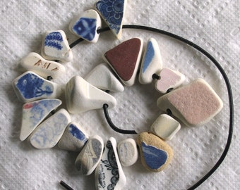 19 Sea Beach Pottery Beads Focals Side Drilled 2.5mm holes Supplies (1898)