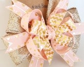 Valentines Day Pink Hair Bow- Gold Glitter Cupid Arrows- Babys First Valentines- Cupid Arrow Headband- 4 inch Pinwheel Bow on clip- #280