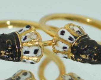 14K & Enamel Blackamoor Nubian Earrings 1800's