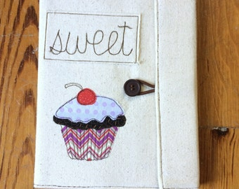 Cupcake Covered Composition Book with pen, made to order, notebook, journal, guest book, cute notebook, free motion sewing,cupcake