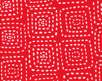 Michael Miller Stitch Square Red  - Fabric 1 yard off of bolt (more available)