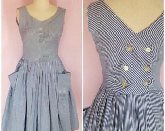 Vintage 1960s Nautical Sailor Striped Dress/ XS S