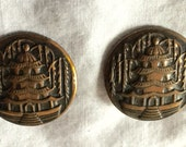 ON HOLD for doreenrussell3 Asian Inspired Clip On Earrings Pagoda Motif Round Shape Copper Color