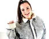 vintage 80s coat jacket acid wash denim black shearling / l / xl / mens