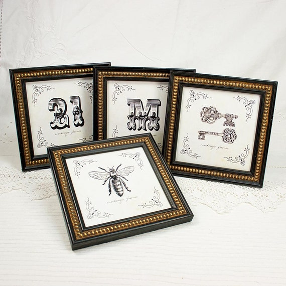 8x8 inch or 7x7 inch black gold boules photo frame in for Bungalow style picture frames
