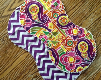 2 Bright and Beautiful Flannel Burp Cloths with Chenille Back for Baby Girl, ready to ship