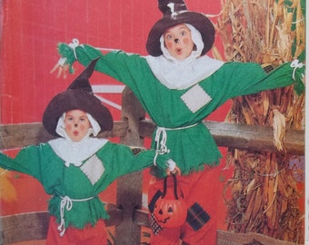 Children's Scarecrow Costume Butterick 4287 Sewing Pattern Vintage 80's Pants, Hat, Hood and Mittens  Halloween Costume Size 4 - 14 UNCUT
