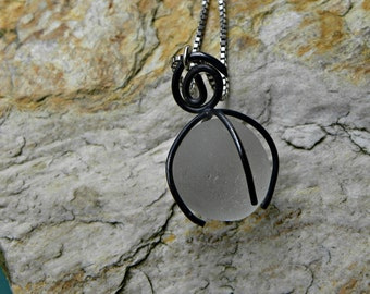 genuine sea glass from England caged in sterling silver pendant necklace