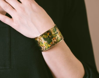 Audubon's Parrot Bird Brass Cuff Bracelet - Ornithology The Extinct Carolina Parakeet - Unique Gifts Under 45